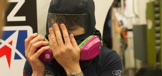 Samantha Cristoforetti in addestramento per fughe di ammoniaca